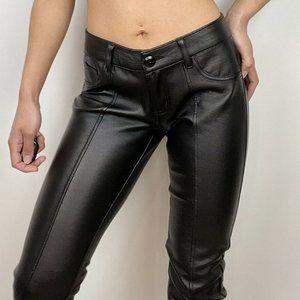 Bebe Leather Pants Skinny Leg Perforated